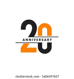 20th year celebrating anniversary logo design template