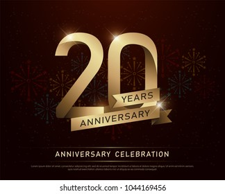 20th years anniversary celebration gold number and golden ribbons with fireworks on dark background. vector illustration