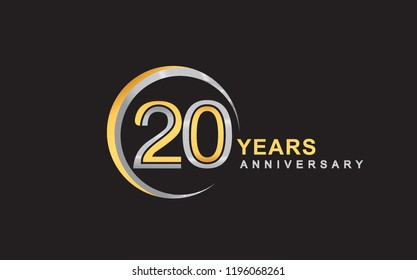 20th years anniversary golden and silver color with circle ring isolated on black background for anniversary celebration event