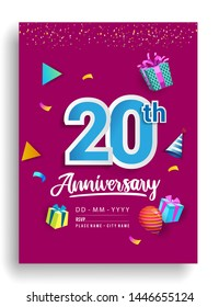 20th Years Anniversary invitation Design, with gift box and balloons, ribbon, Colorful Vector template elements for birthday celebration party.