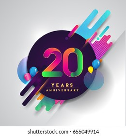 20th years Anniversary logo with colorful abstract background, vector design template elements for invitation card and poster your twenty birthday celebration