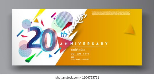 20th years anniversary logo, vector design birthday celebration with colorful geometric background and circles shape.