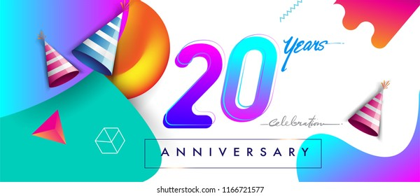 20th years anniversary logo, vector design birthday celebration with colorful geometric background and futuristic elements