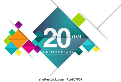 20th years anniversary logo, vector design birthday celebration with colorful geometric isolated on white background.