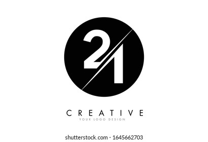 21 2 1 Number Logo Design with a Creative Cut and Black Circle Background. Creative logo design.