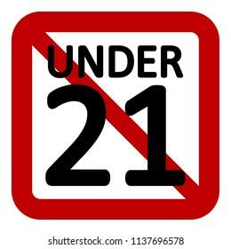 21 age restriction sign on white background. Vector illustration.