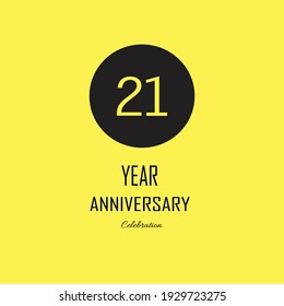 21 Anniversary celebration on yellow background. Vector festive illustration. Birthday or wedding party event decoration