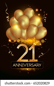 21 Anniversary Logo Celebration with Golden balloon and confetti, Isolated on dark Background