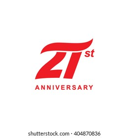 21 anniversary wave logo red