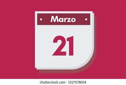 21 de Marzo. Dia del mes. Calendario (March 21th. Day of month. Calendar in spanish) vector illustration icon.
