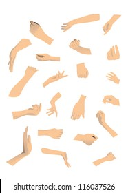 21 different hand on white background.