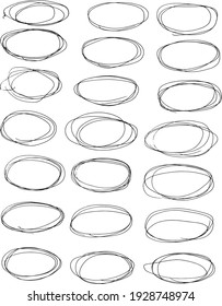 21 Hand Drawn Oval Frames Isolated Vector Illustration. Doodle Frames.