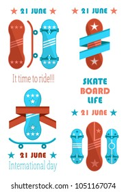21 june skate board life, it time to ride vector illustration, skateboards set, red and blue boards with stripes and stars prints, no limit freestyle