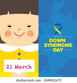 21 march - World Down Syndrome Day. Cartoon girl holding paper with written text of 21 march. Down Syndrome Awareness vector illustration.