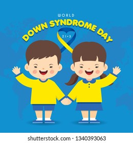 21 march - World Down Syndrome Day. Cartoon down syndrome children and world map. Down Syndrome Awareness vector illustration.