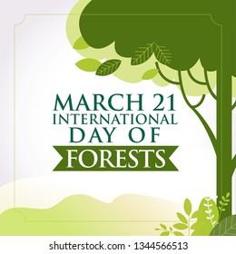 21 Mart Orman Haftası, Kutlu Olsun.  Translation: International Day of Forest. March 21. greeting card, Vector Illustration.