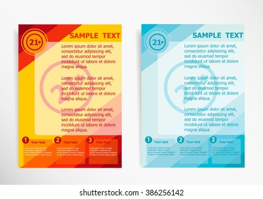 21 plus years old sign. Adults content icon on abstract vector modern flyer, brochure vector template