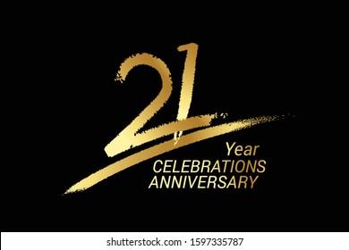 21 year anniversary chalk, golden ink Style , minimalist logo. years, jubilee, greeting card. Birthday invitation sign. Black space vector illustration on black background - Vector
