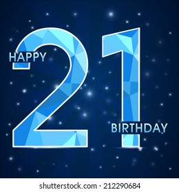 21 year birthday celebration label, 21st anniversary decorative polygon emblem - vector illustration
