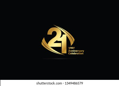 21 year minimalist logo years, jubilee, greeting card. Birthday invitation. Sign Cube Line Gold space vector illustration on black background - Vector