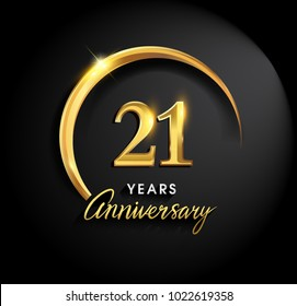 21 years anniversary celebration. Anniversary logo with ring and elegance golden color isolated on black background, vector design for celebration, invitation card, and greeting card