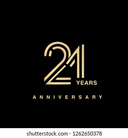 21 years anniversary celebration logotype. anniversary logo with golden and silver color isolated on black background, vector design for celebration, invitation card, and greeting card - Vector