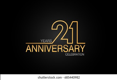 21 years anniversary celebration logotype. anniversary logo with golden and silver color isolated on black background, vector design for celebration, invitation card, and greeting card