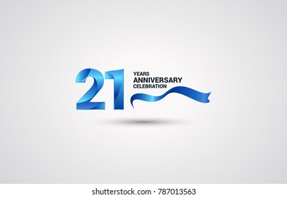 21 Years Anniversary celebration logotype colored with shiny blue, using ribbon and isolated on white background