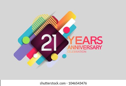 21 years anniversary colorful design with circle and square composition isolated on white background for celebration