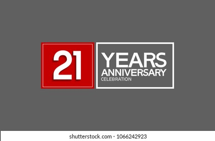 21 years anniversary design horizontal square style with red and white color for celebration event