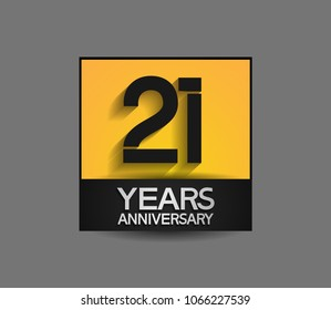 21 years anniversary design square style yellow and black color isolated on gray background for celebration event
