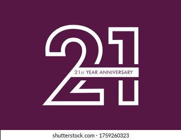 21 years anniversary image vector, 21st anniversary celebration logotype