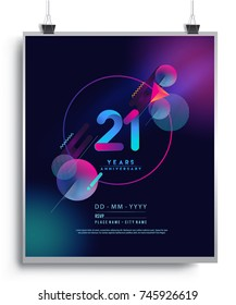 21 Years Anniversary Logo with Colorful Galactic background, Vector Design Template Elements for Invitation Card and Poster Your Birthday Celebration.