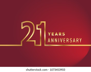 21 years anniversary logo, gold colored isolated with red background