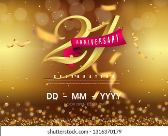 21 years anniversary logo template on gold background. 21st celebrating golden numbers with red ribbon vector and confetti isolated design elements