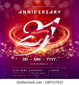 21 years anniversary logo template on red and pink futuristic space background. 21st modern technology design celebrating numbers with Hi-tech network digital technology concept design elements