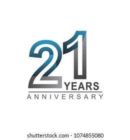 21 years anniversary logotype bold line number with grey and blue color for celebration event isolated on blue background