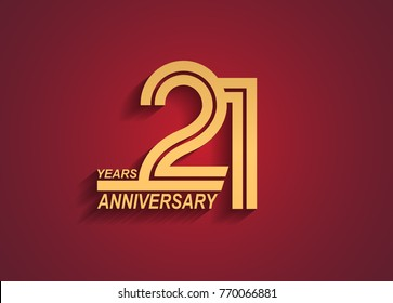 21 years anniversary logotype with linked number golden color isolated on red background for celebration event
