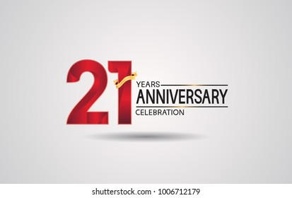 21 years anniversary logotype with red color and golden ribbon isolated on white background for celebration event