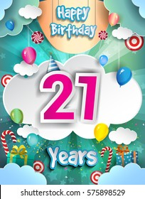 21 Years Birthday Design For Greeting Cards And Poster With Clouds Gift Box