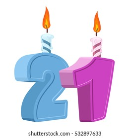 21 years birthday. Number with festive candle for holiday cake. twenty-one Anniversary