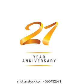 21 years golden anniversary celebration logo , isolated on white background