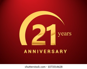 21 years golden anniversary logo with golden ring isolated on red background, can be use for birthday and anniversary celebration.
