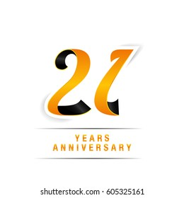 21 Years Yellow and Black  Anniversary  Logo Celebration Isolated on White Background