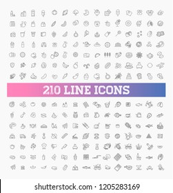 210 food and drink thin vector icon set