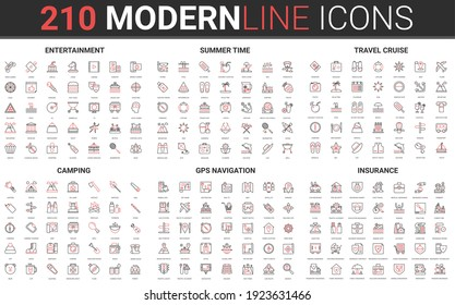 210 modern red black thin line icons set of entertainment, summer time, travel cruise, camping, gps navigation, insurance collection vector illustration.