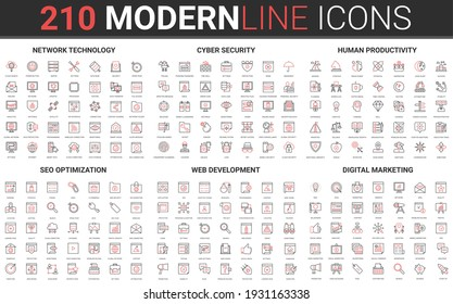 210 modern red black thin line icons set of digital marketing, human productivity, network technology, cyber security, SEO optimization, web development collection vector illustration.
