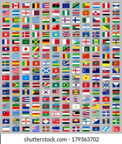 216 Flags of world, flat vector illustration, set