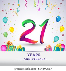 21st Anniversary Celebration Design, with gift box, balloons and confetti, Colorful Vector template elements for your, twenty one years birthday celebration party.