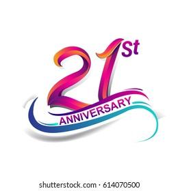 21st anniversary celebration logotype blue and red colored. twenty one years birthday logo on white background